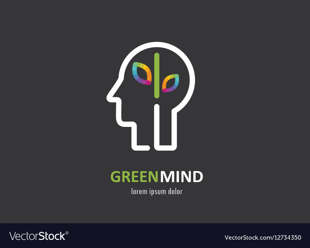 Green mind- abstract colorful icon of human head vector image