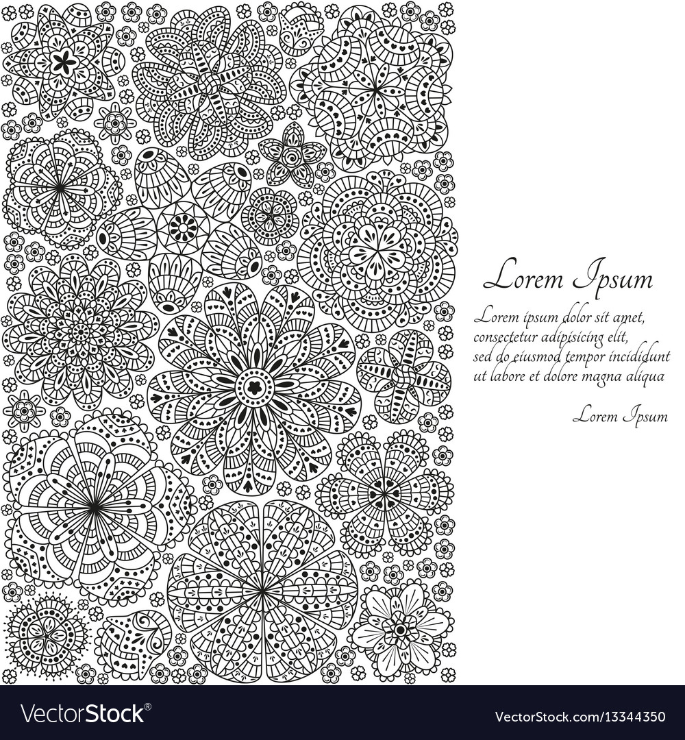 Greeting card or template with stylized flowers