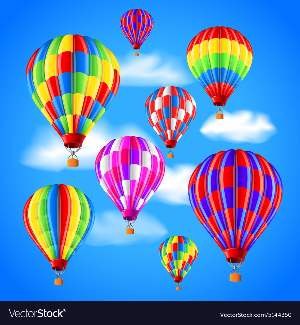Hot air balloons in the sky background vector image