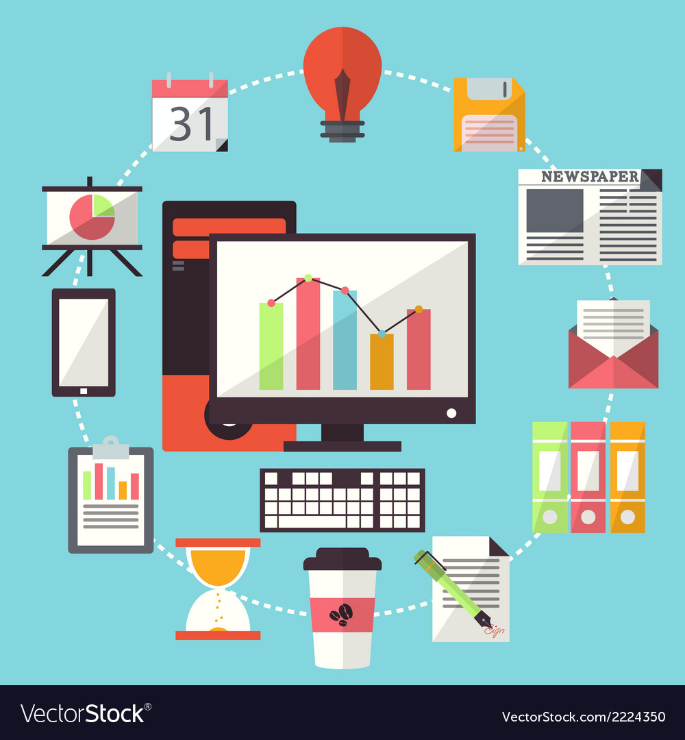 Office Working Business Flat Design vector image