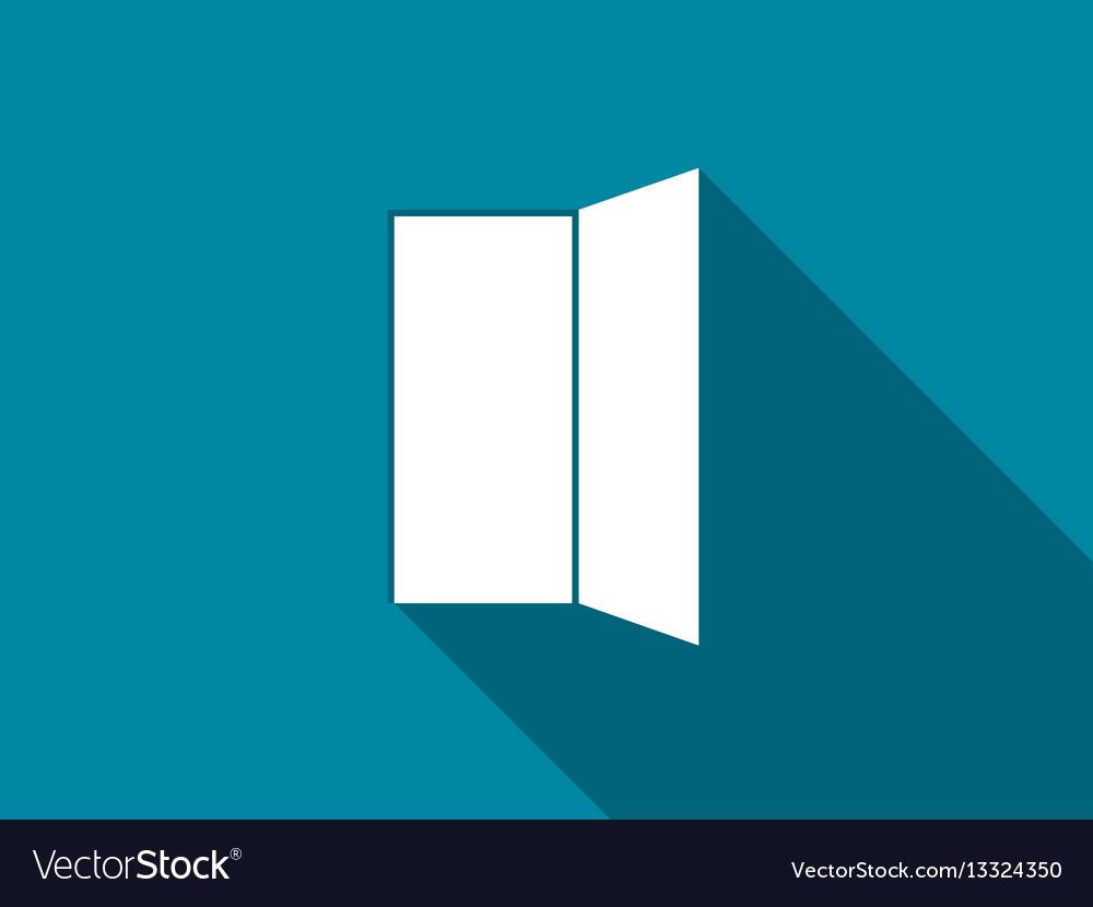 Open door flat icon with long shadow