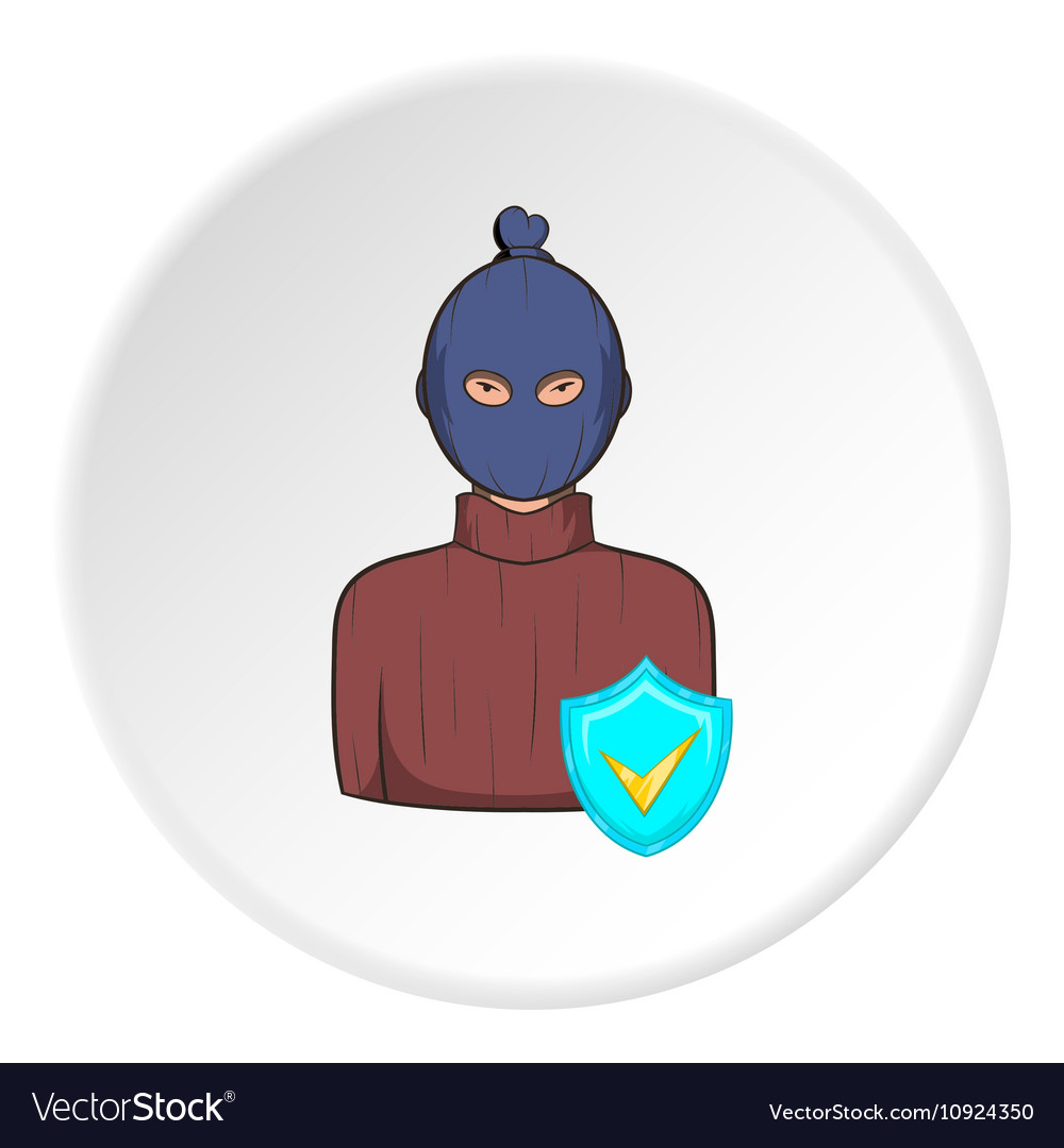 Robber and sign security icon cartoon style vector image