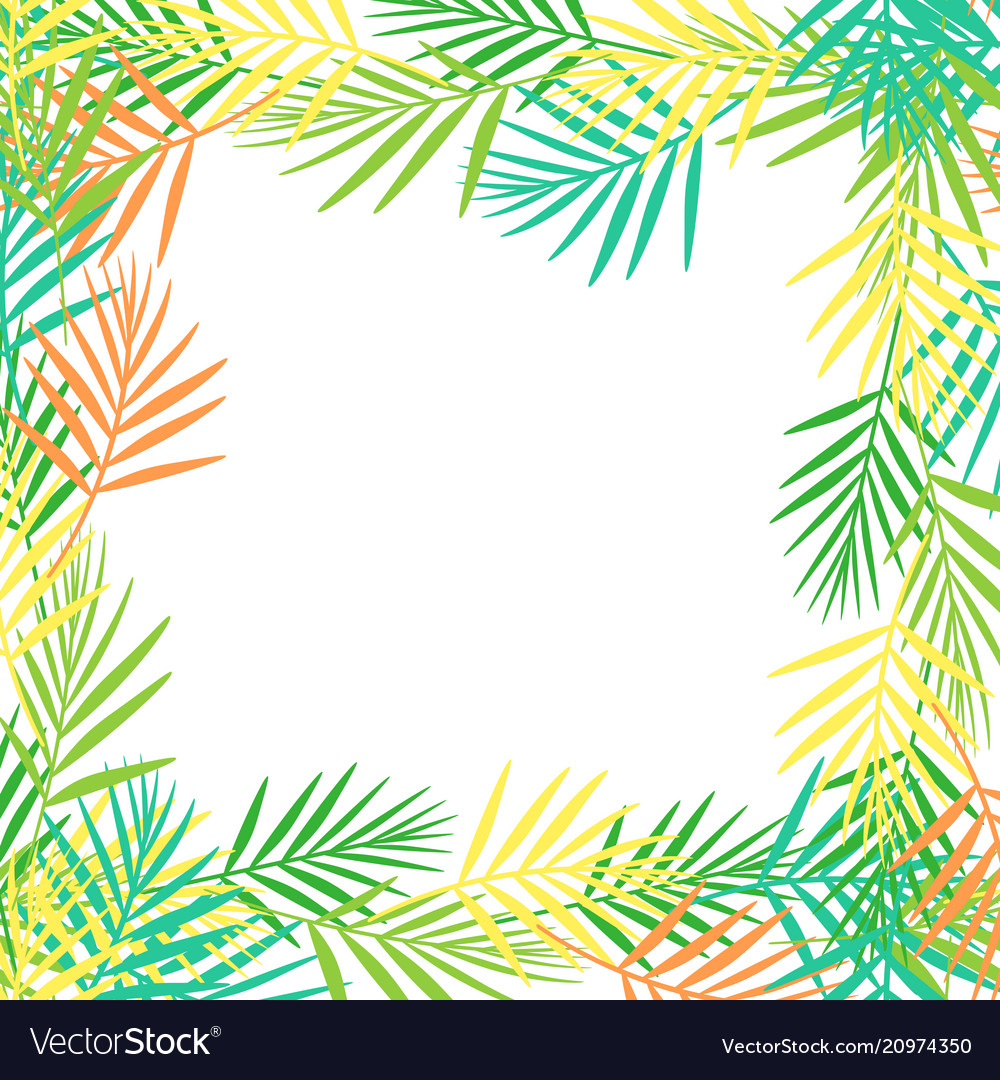 Square frame of bright abstract tropical leaves in