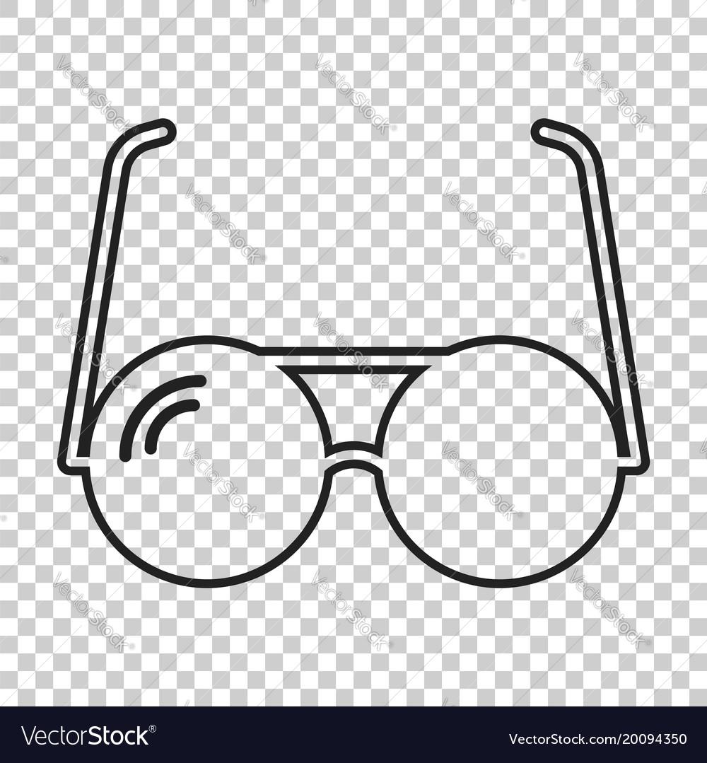 Sunglass icon in line style eyewear flat vector image