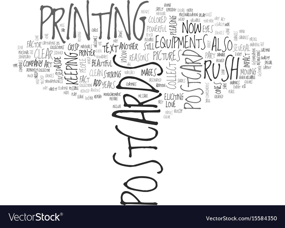 Why rush postcards sell text word cloud concept