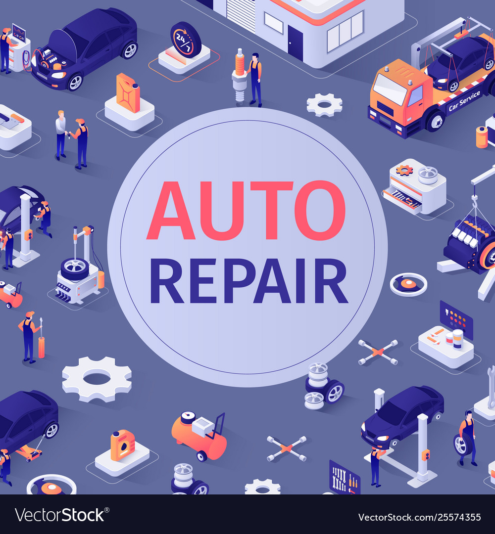 Automotive seamless pattern with auto repair text
