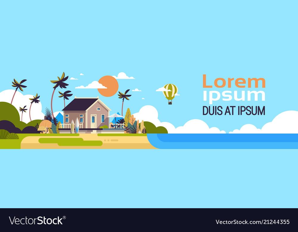 Big summer villa house air balloon surf board palm