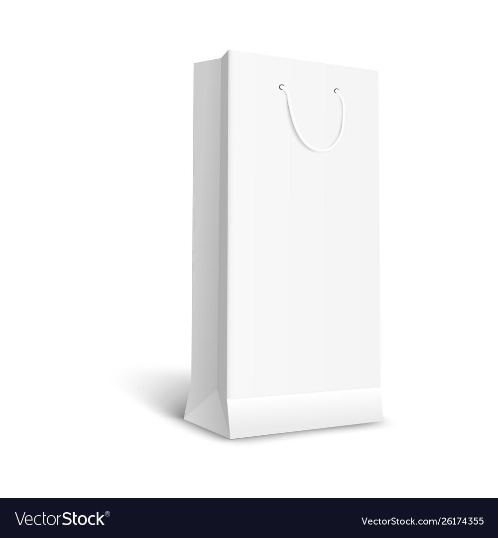 Blank white paper gift bag mockup 3d