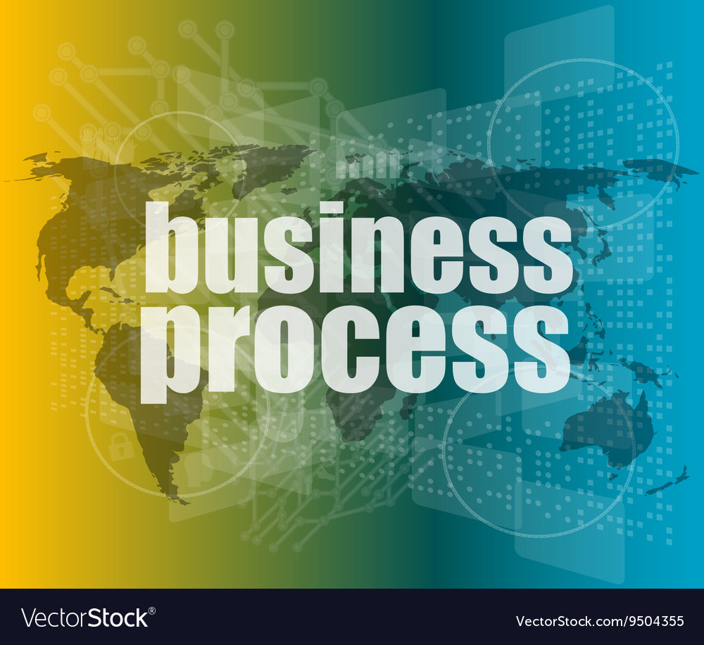 Business process word on digital screen mission