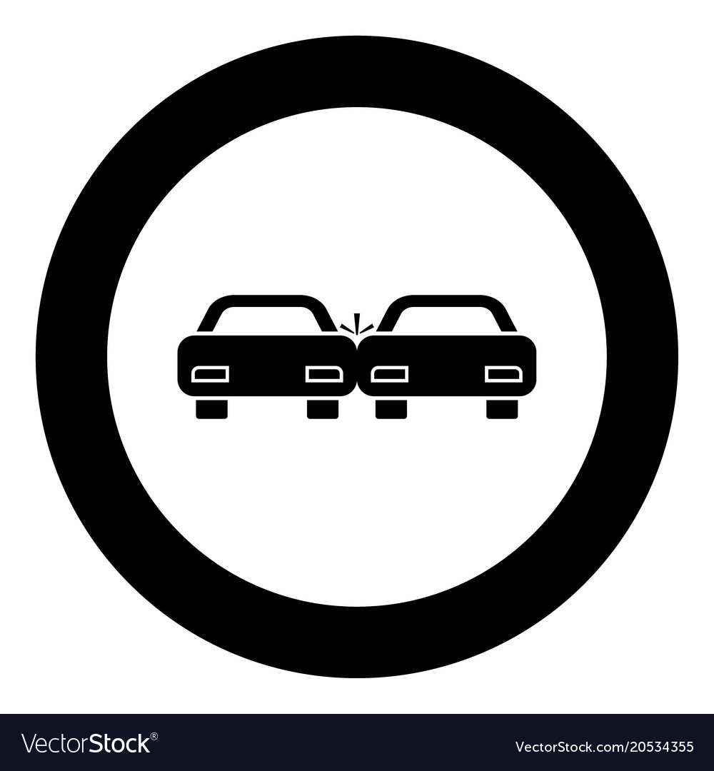Crashed cars icon black color in circle