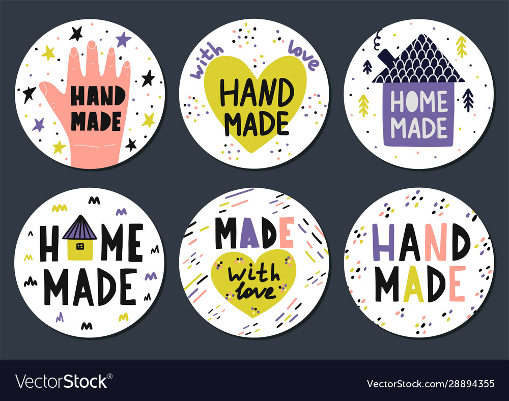Hand made stickers set with lettering in
