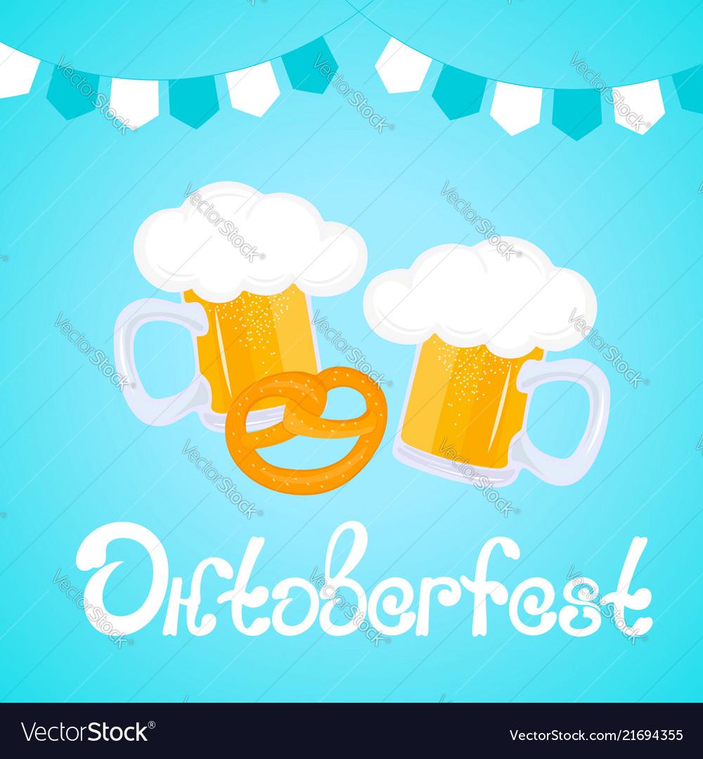 Oktoberfest hand drawn lettering mug of beer