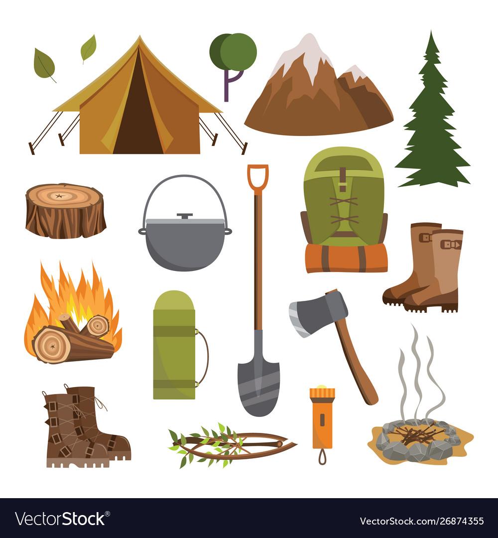 Outdoor camping equipment set - flat cartoon
