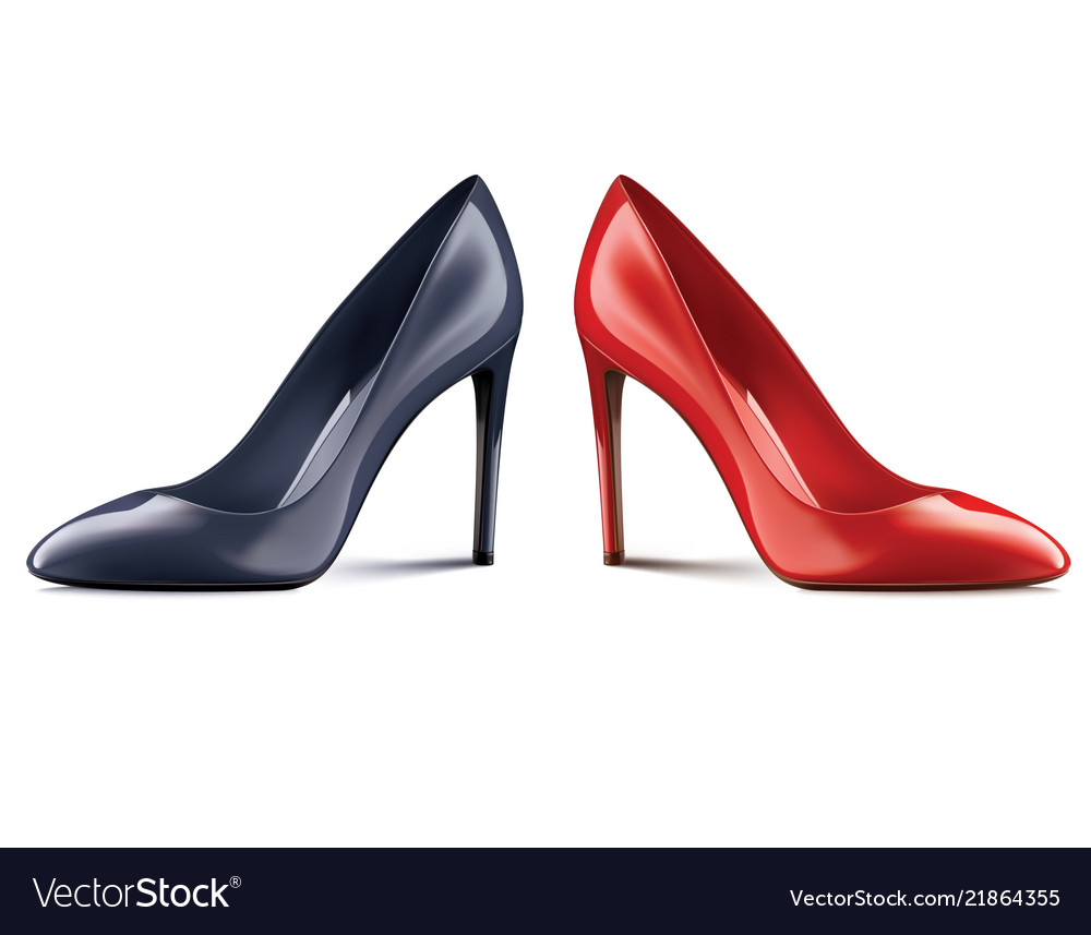 1a572946e3d Red and black shoes on high heels isolated on