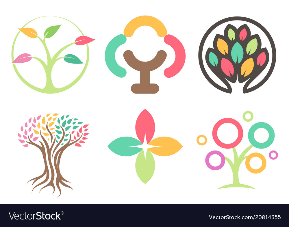 Set of logos of the trees abstract leaves icons