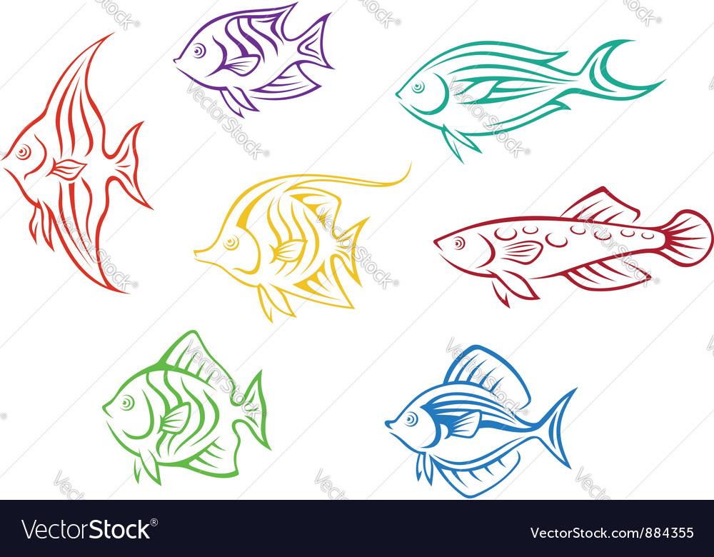 Set of seven colorful aquarium fishes vector image