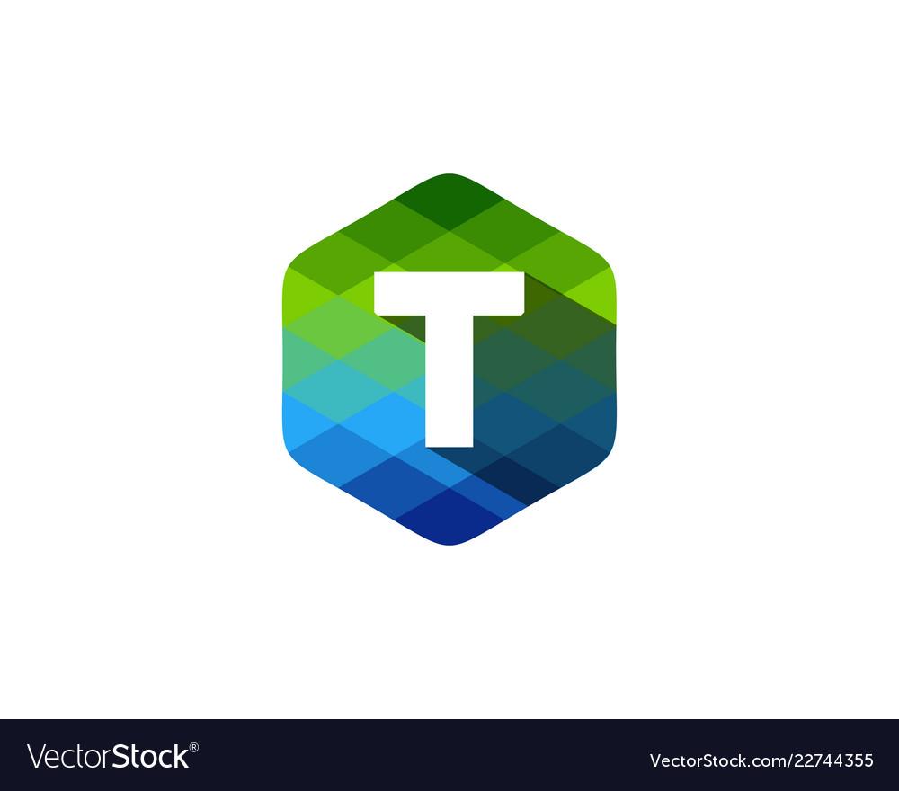 T hexagon pixel letter shadow logo icon design
