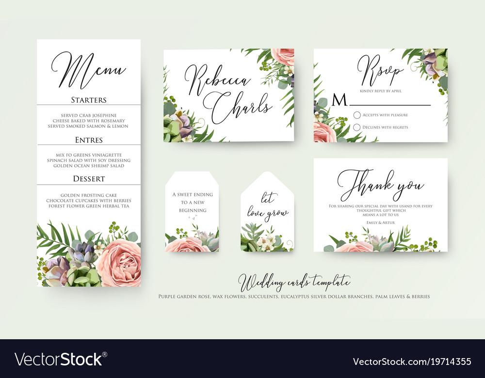 Wedding floral invite thank you rsvp label cards