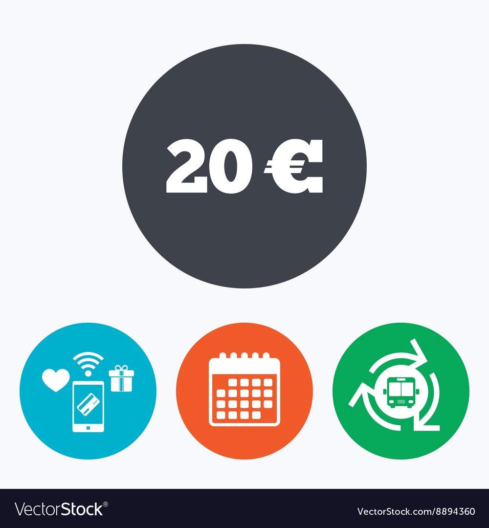 20 Euro Sign Icon Eur Currency Symbol Royalty Free Vector