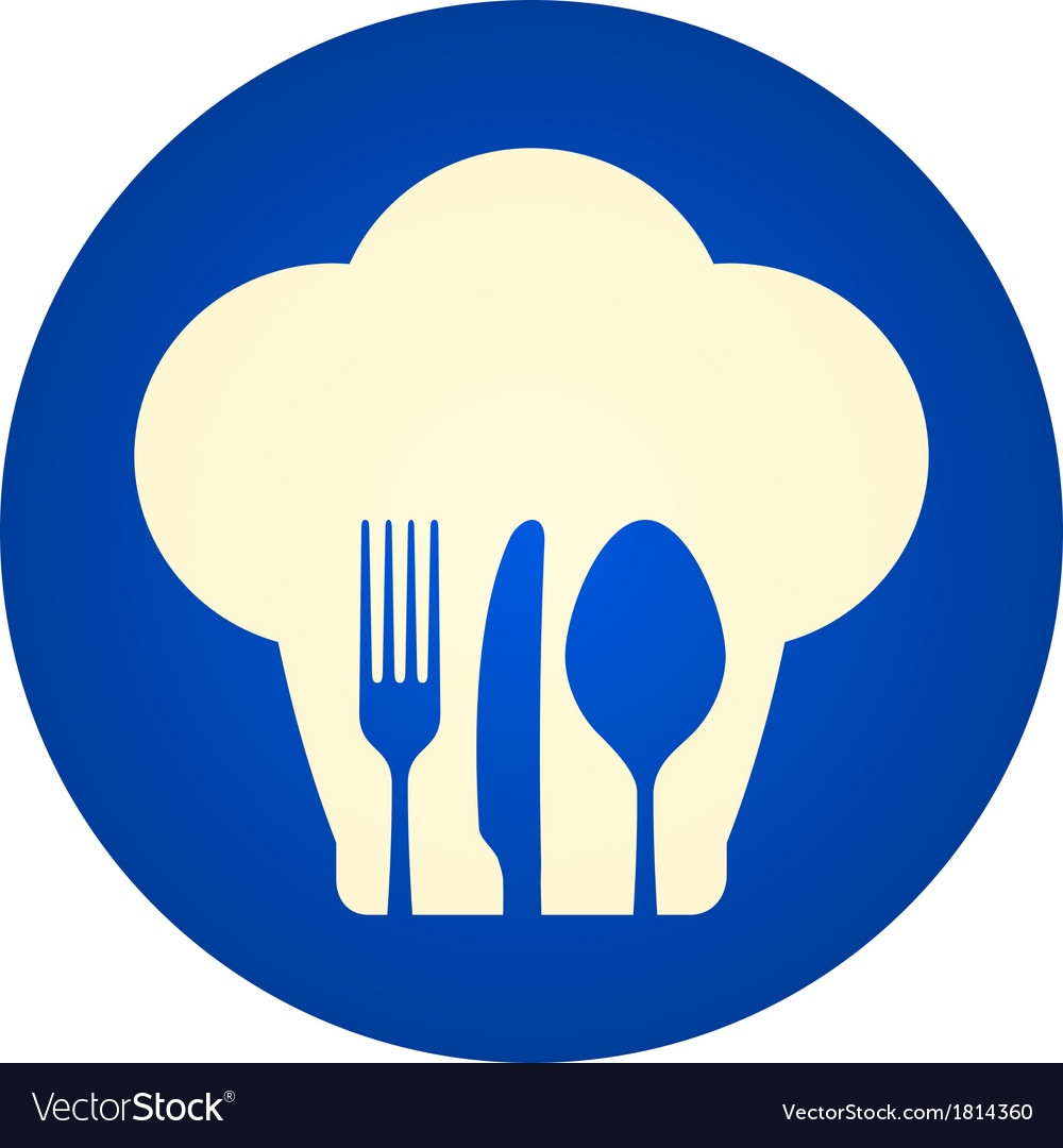 Blue Chef Hat Symbol Royalty Free Vector Image