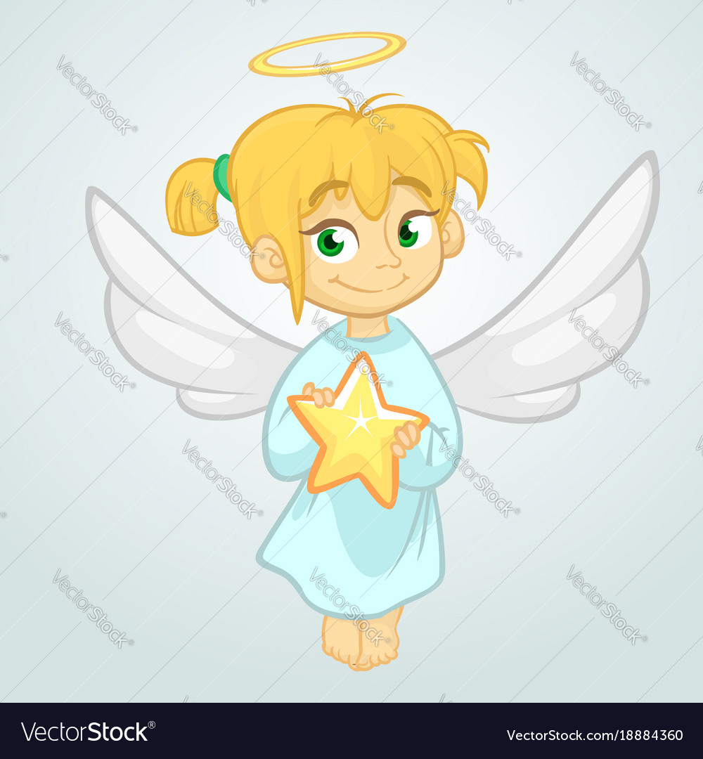 Cute christmas angel holding a star