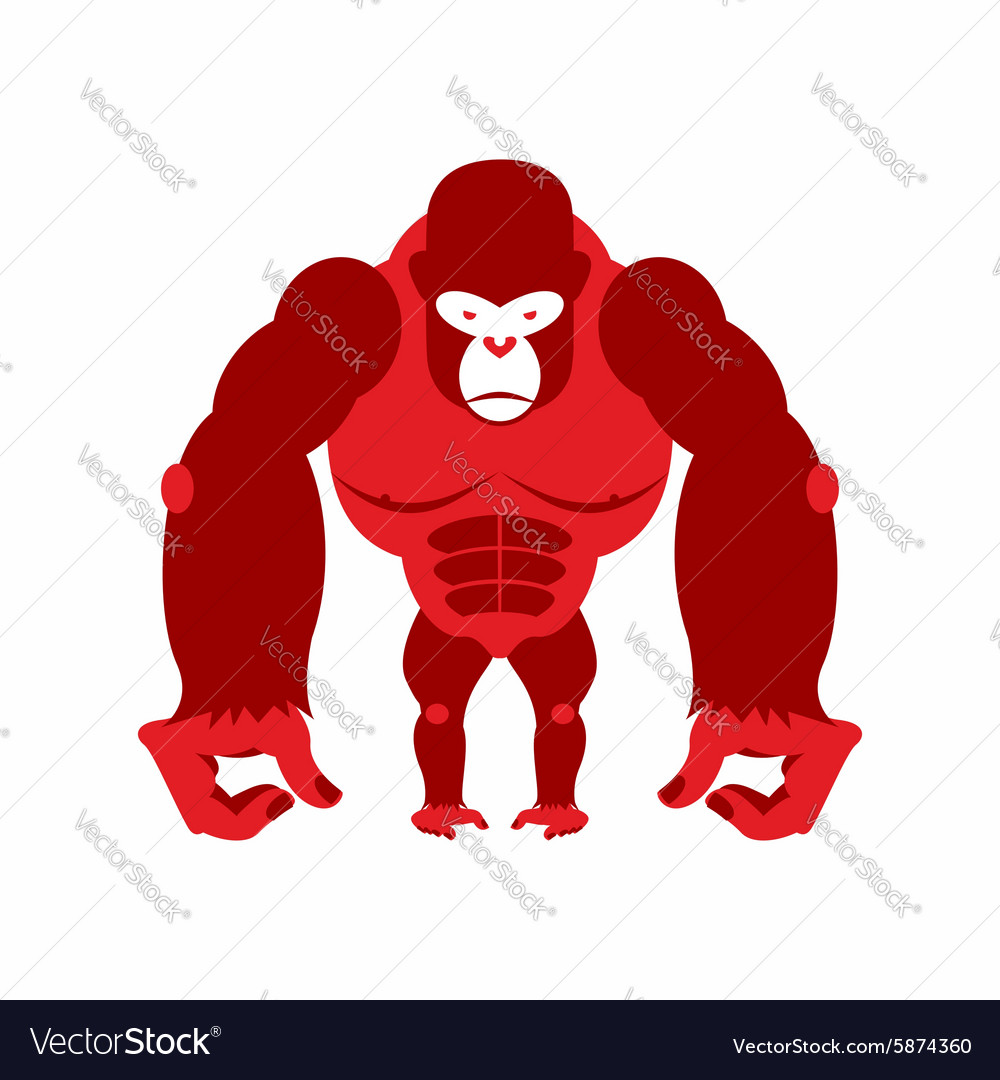 Gorilla big and scary Strong red Angry monkey