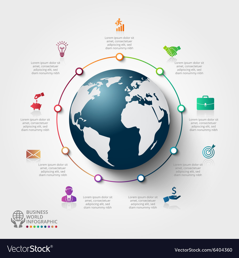 Infographics global template for 9 options