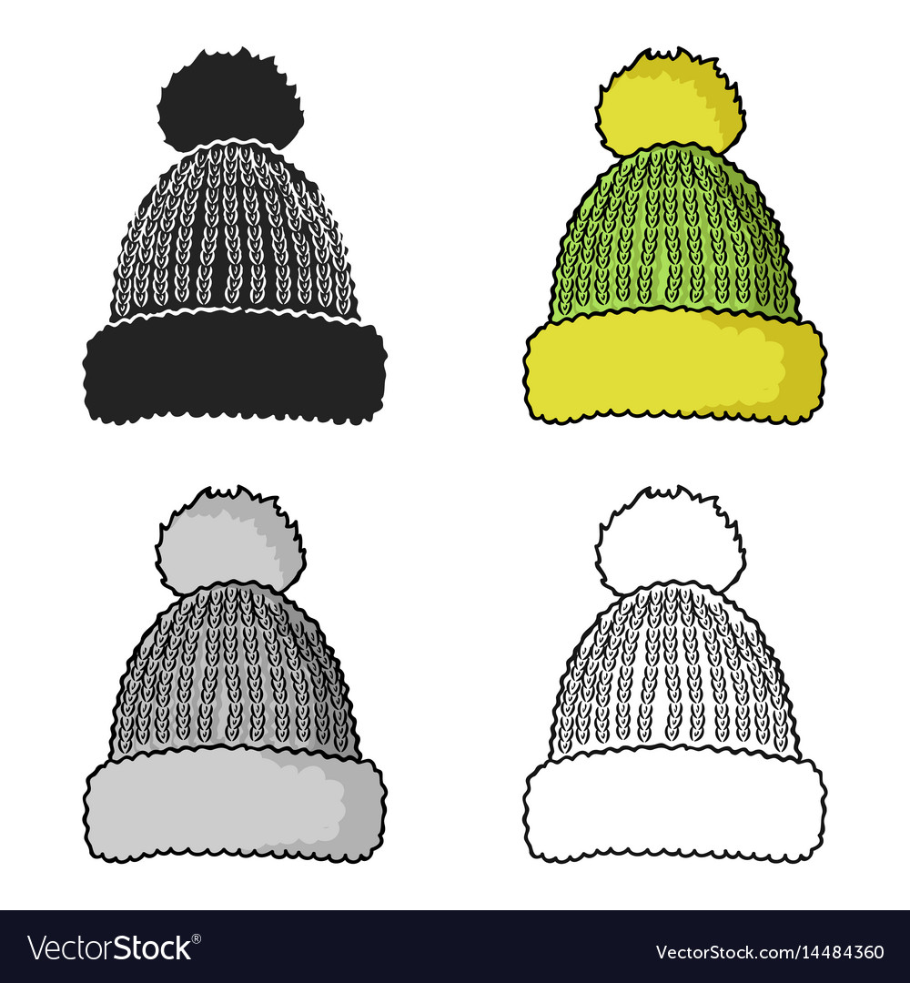 Knit cap icon in cartoon style isolated on white