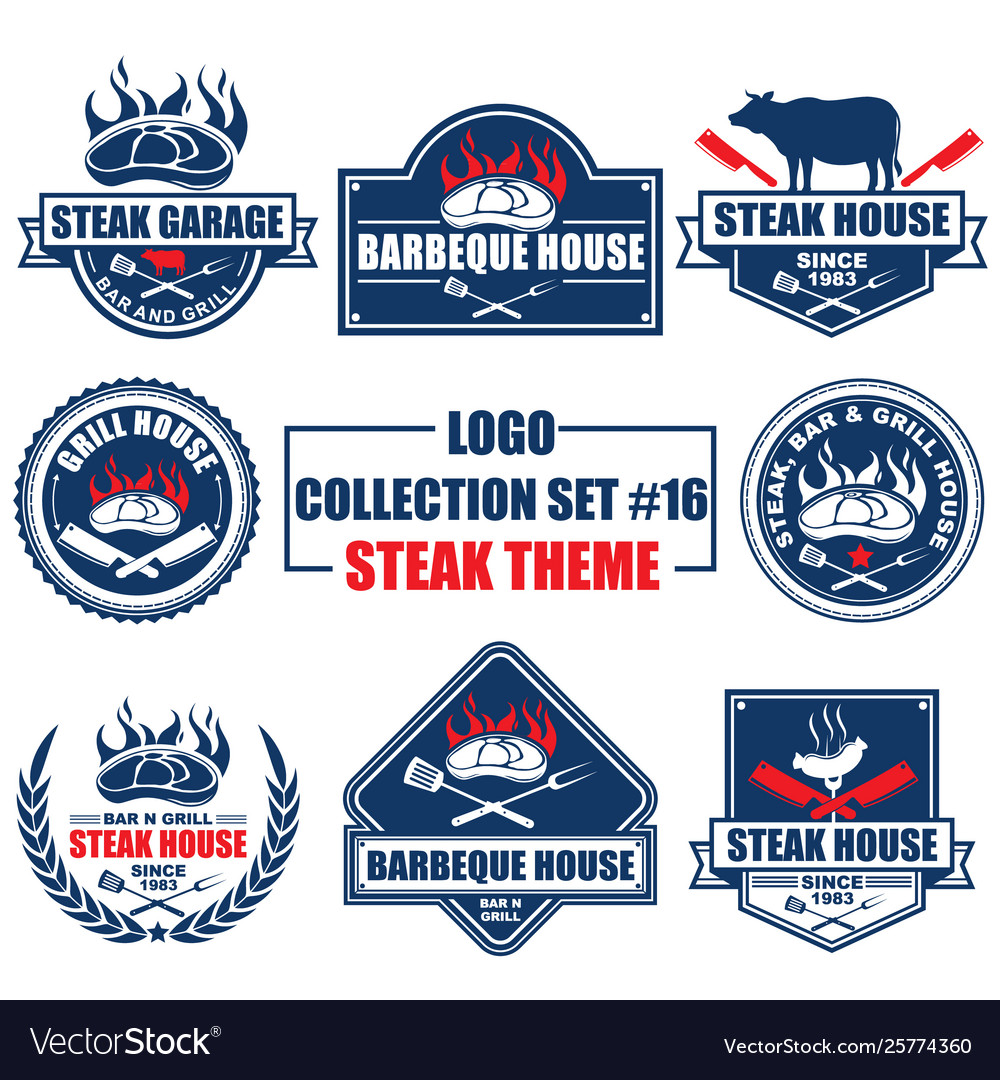Logo collection set with steak theme