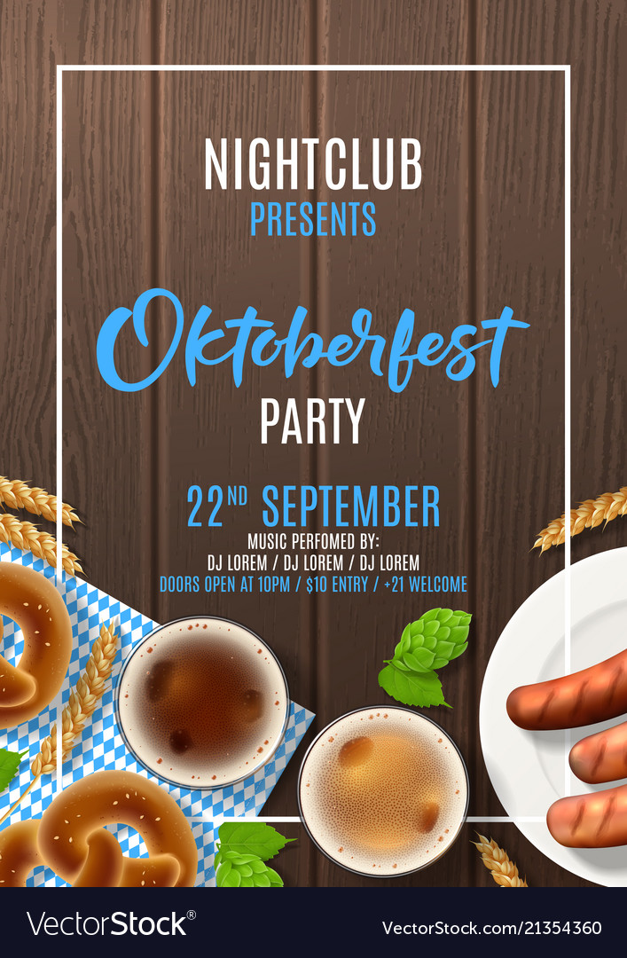 oktoberfest party flyer template royalty free vector image