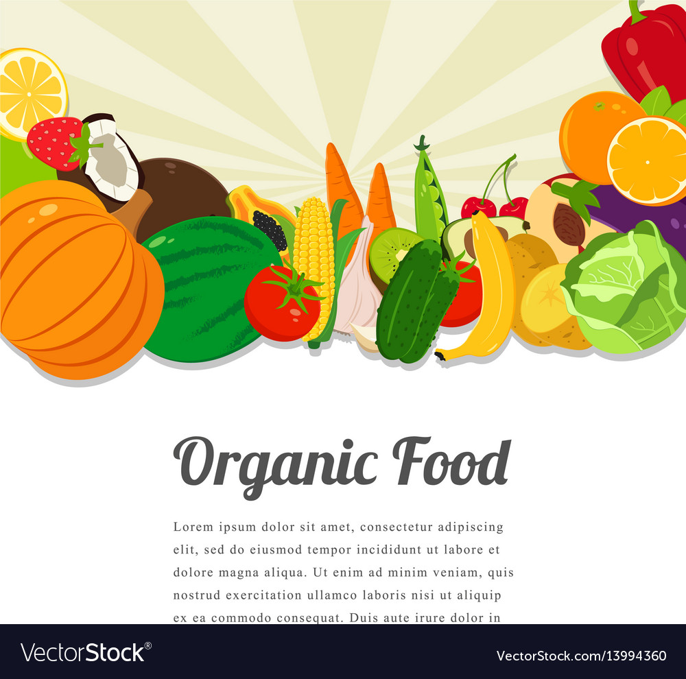 Organic food card design food background with