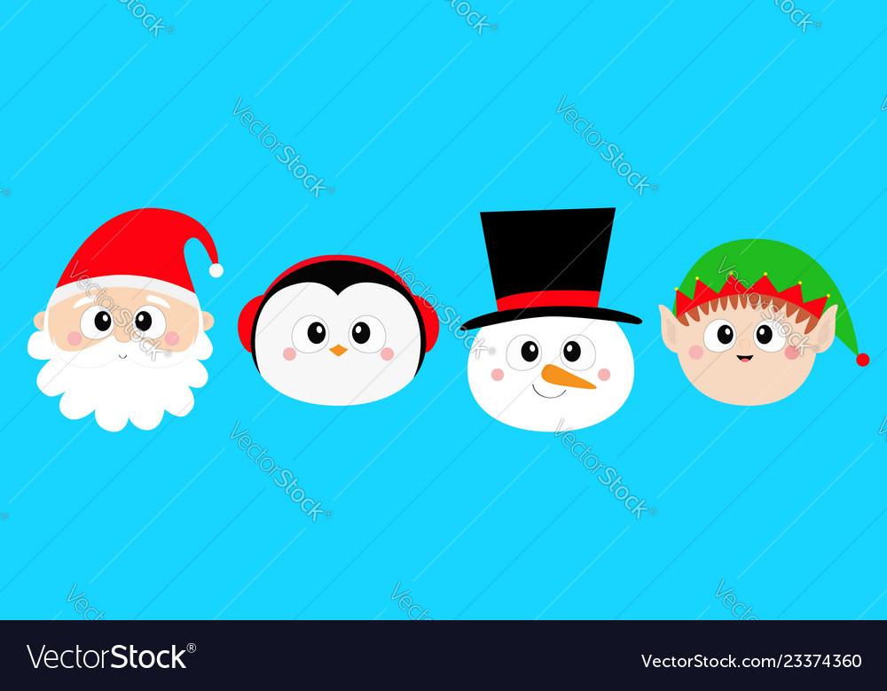 Snowman santa claus elf penguin bird round face