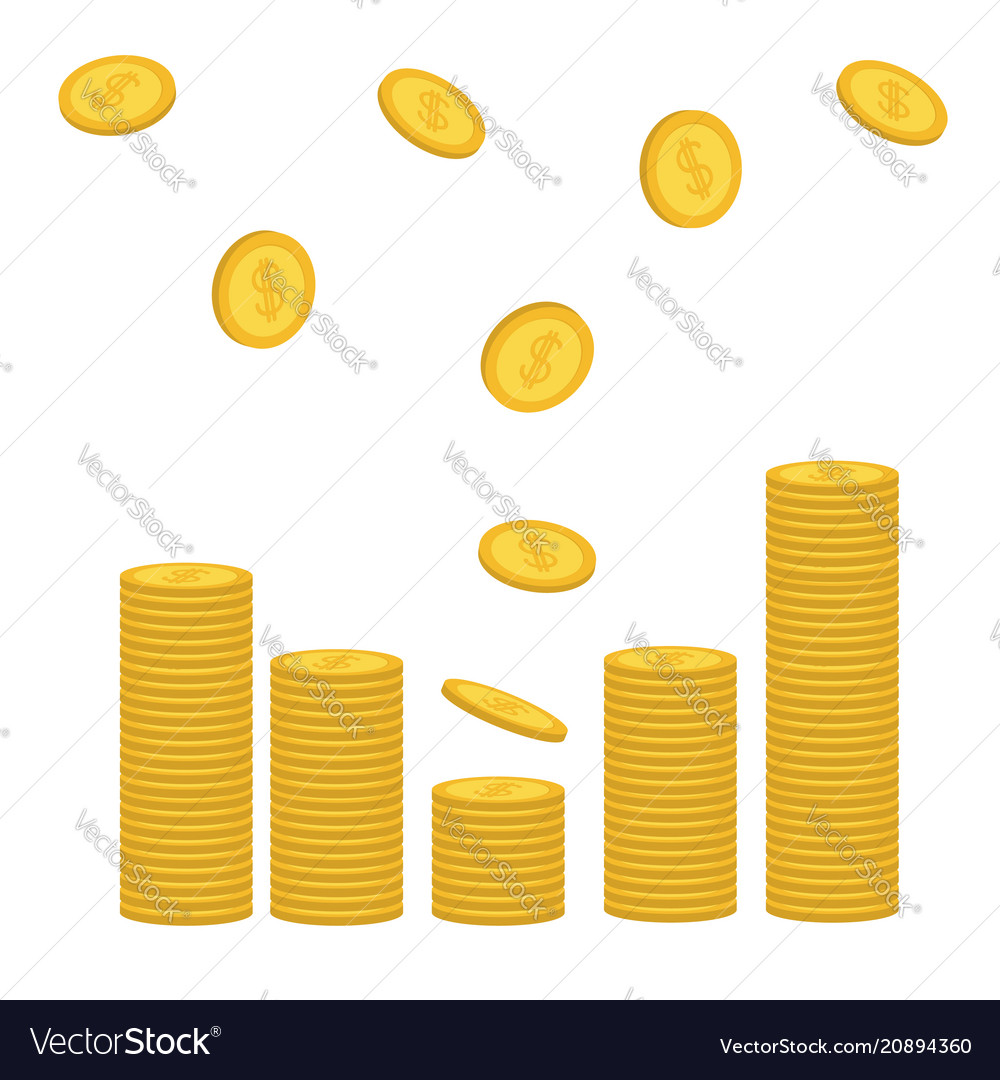 Stacks gold coin icon flying falling down