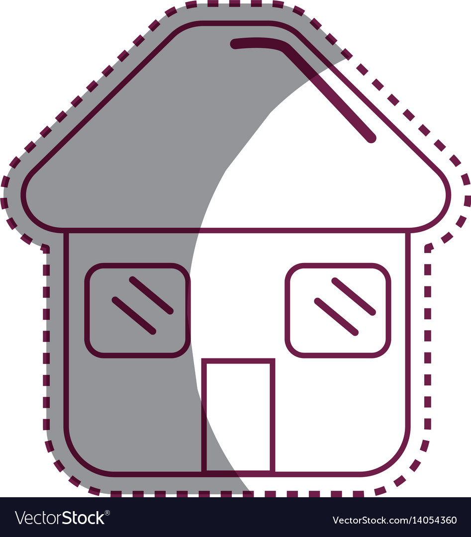 Sticker house with door roof and windows icon