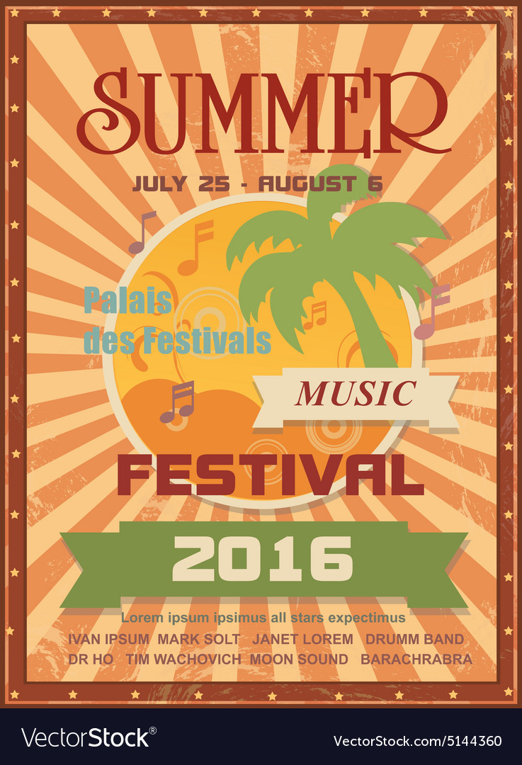 Summer music festival printable poster template or