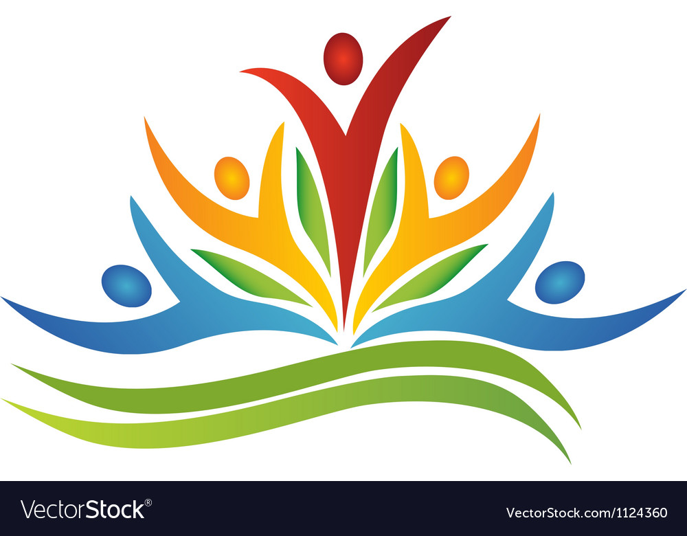 Teamwork flower with leafs logo vector image