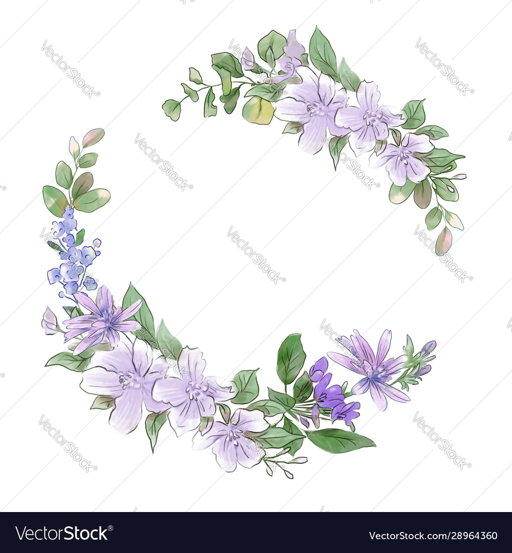 Watercolor hand drawing wreath spring delicate