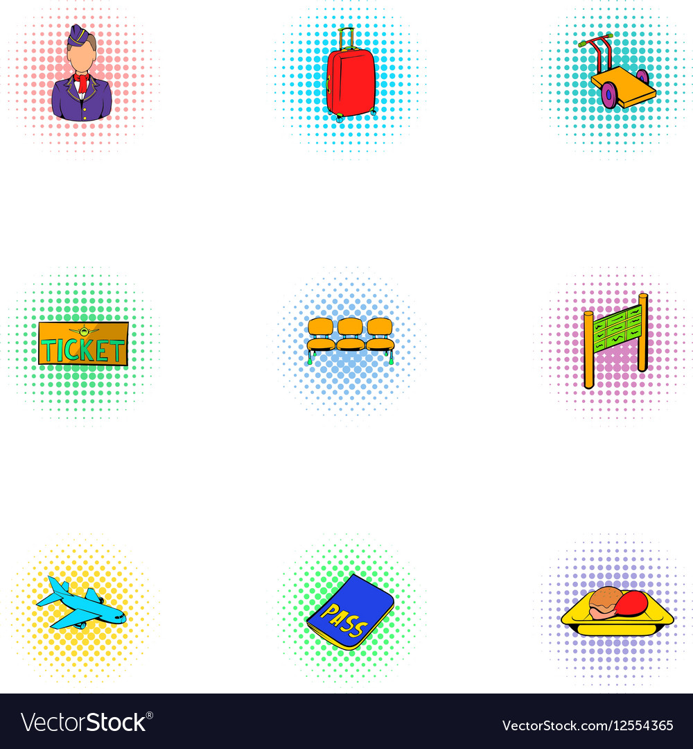 Airport icons set pop-art style
