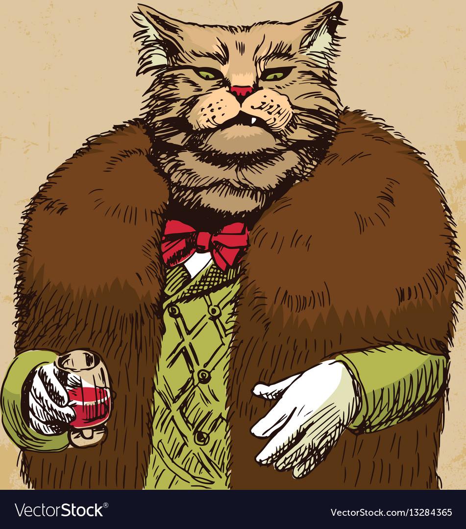 Arrogant sophisticated dressed cat boss looking