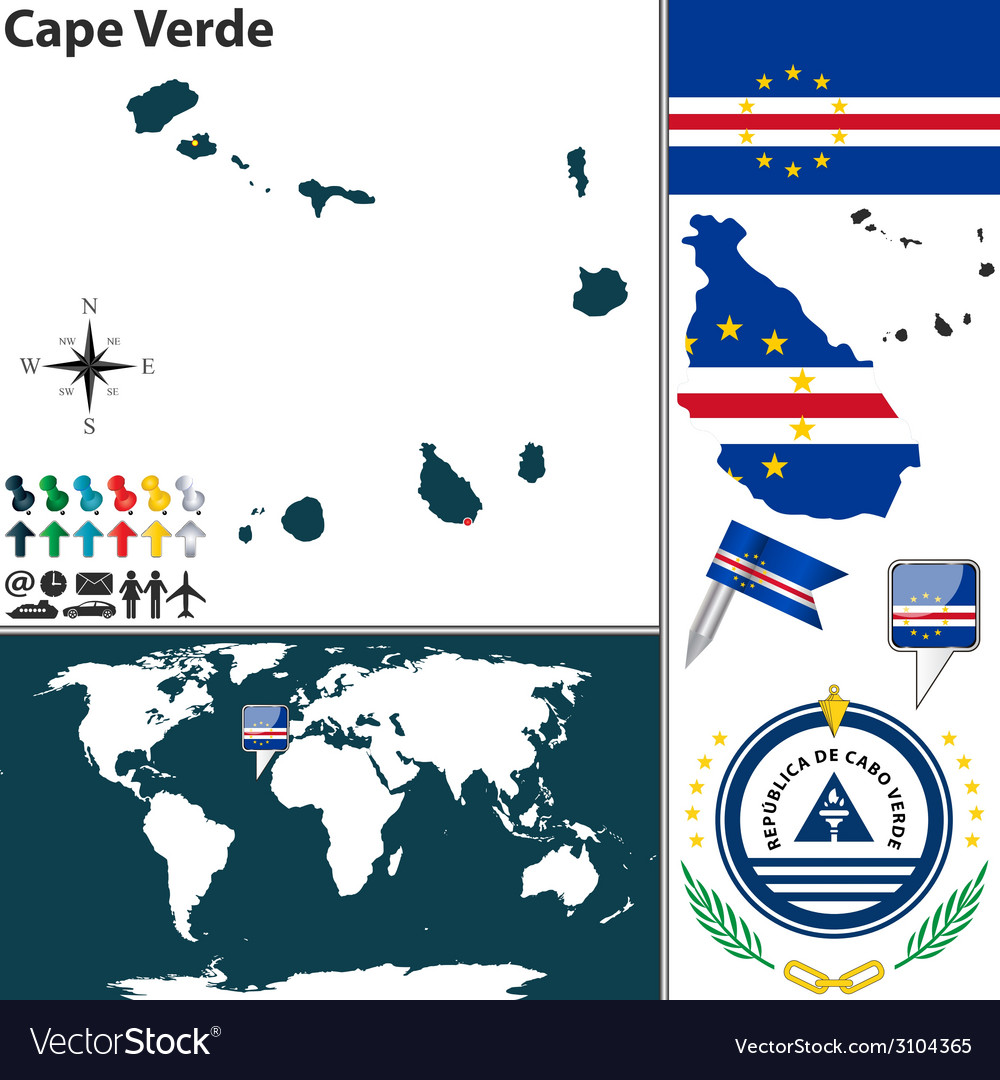 Where Is Cape Verde Located On The World Map.Cape Verde Map World Royalty Free Vector Image