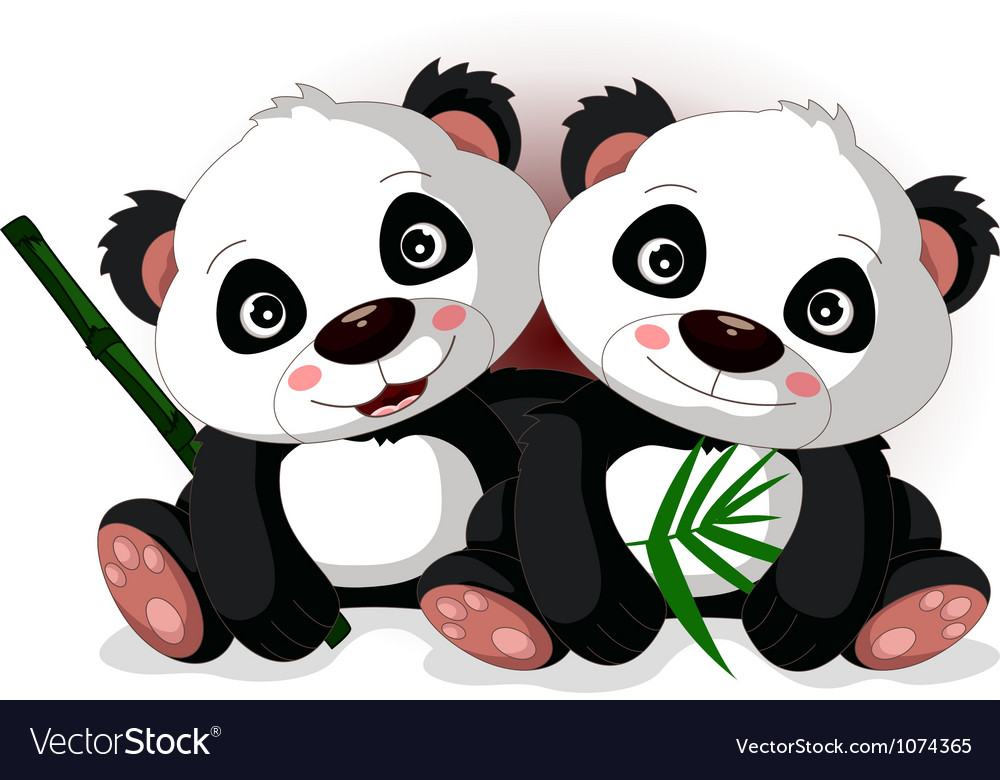 cute couple cartoon panda royalty free vector image