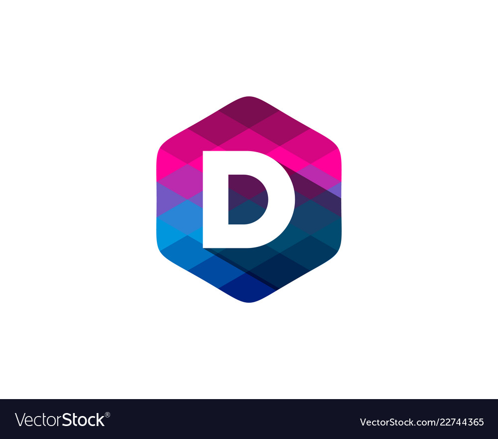 D hexagon pixel letter shadow logo icon design
