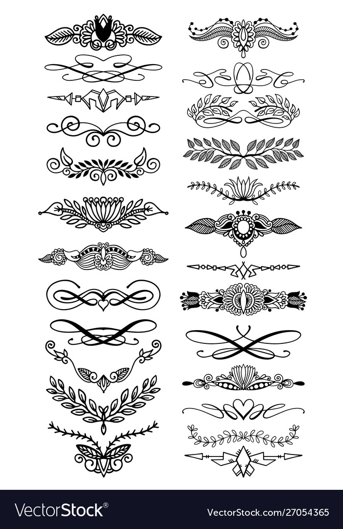 Doodle hand drawing floral page divider