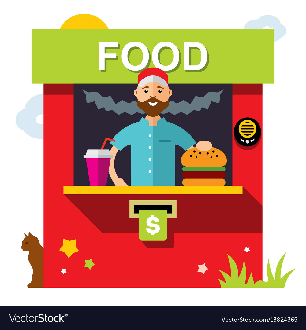 Fast food outdoor kiosk flat style vector image