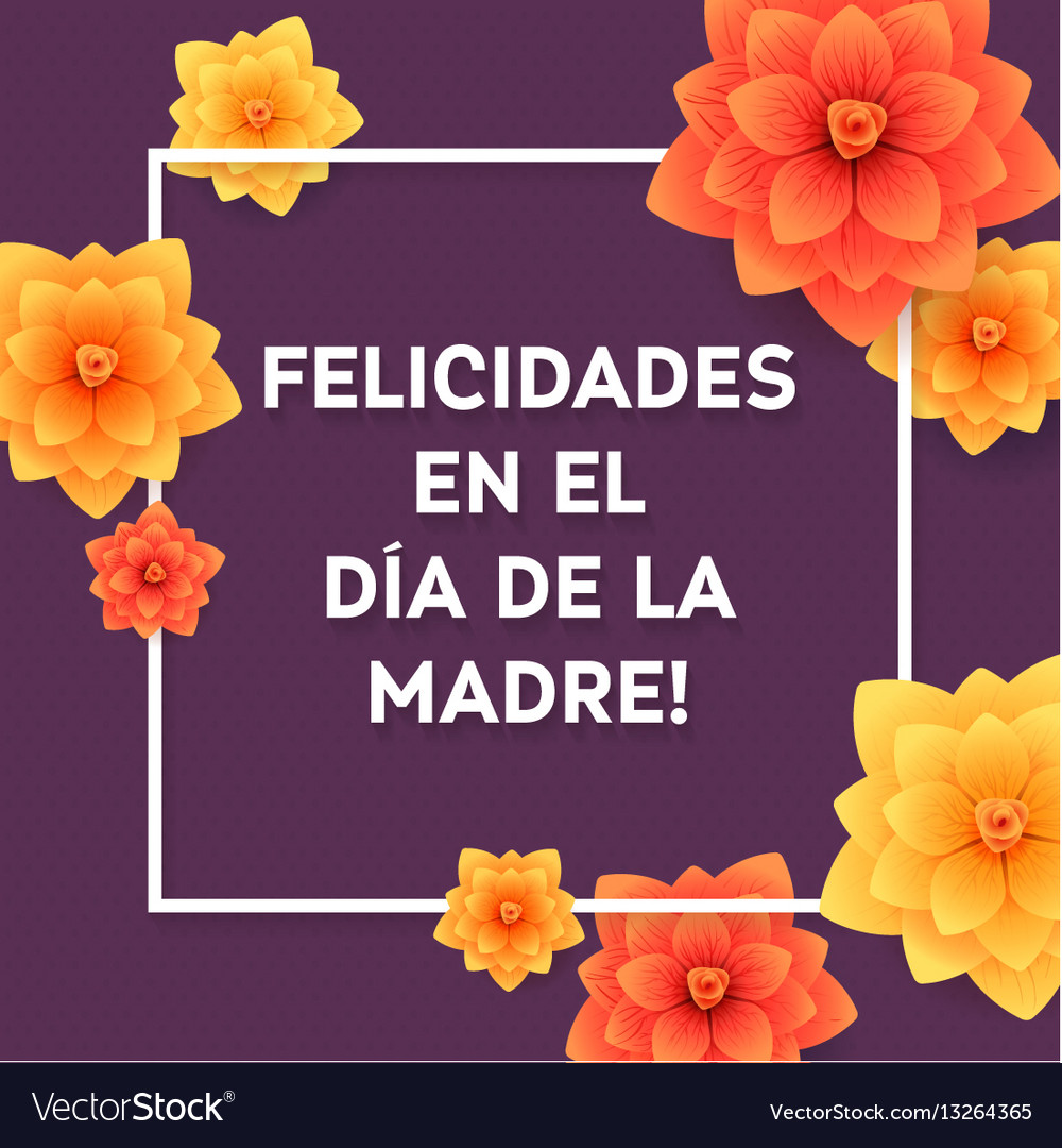 Happy mothers day spanish greeting card beautiful vector image m4hsunfo
