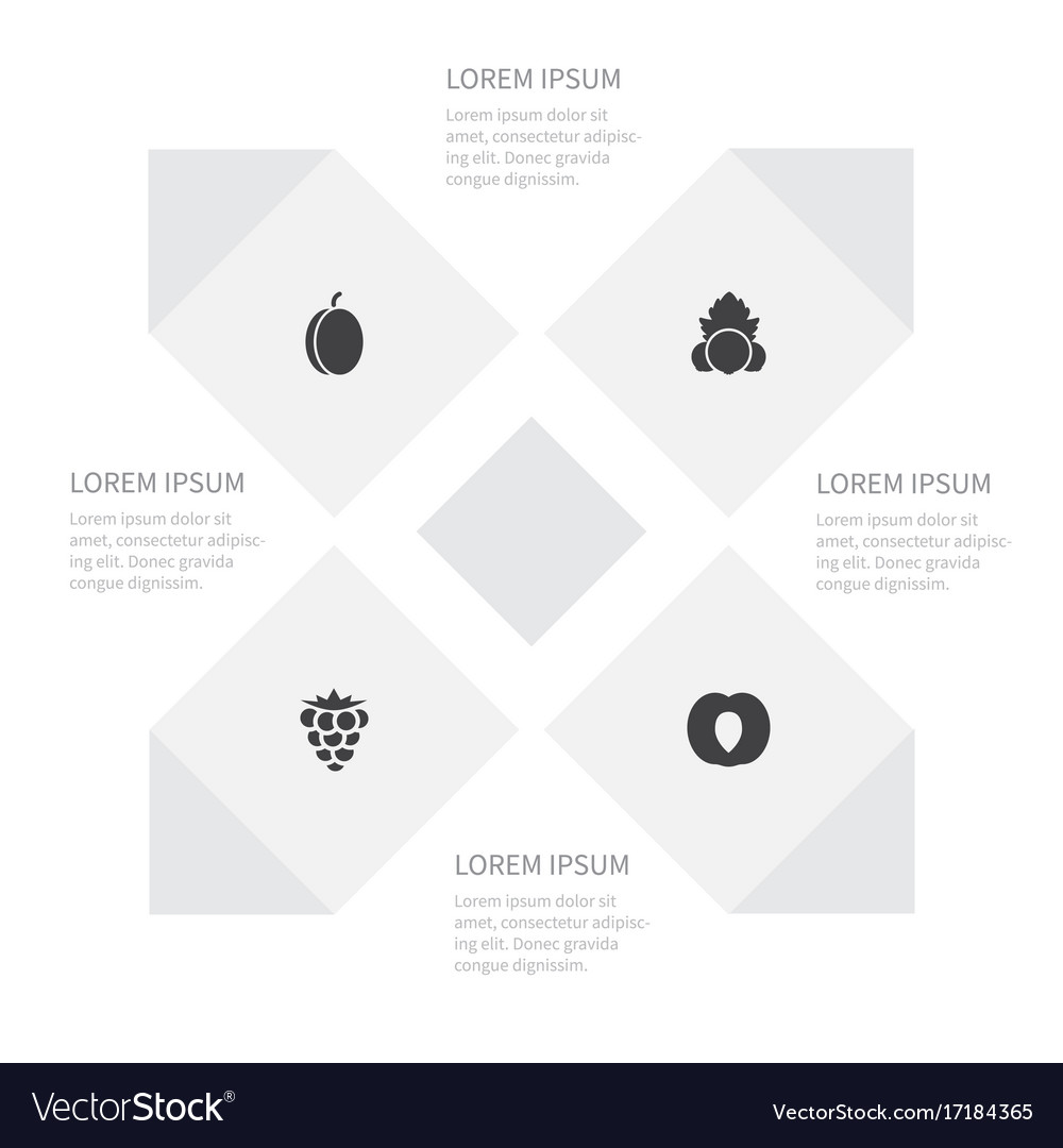 Icon food set of plum bramble leaf and other