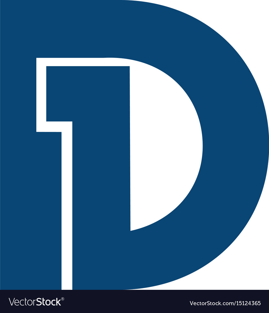 Initial letter and number symbol d1 and 1d logo