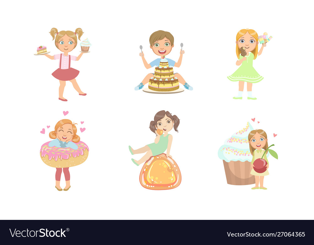 Kids with sweet desserts set happy boys and girls