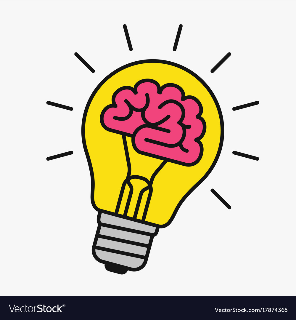 Light Bulb With A Brain Inside Vector Image Images