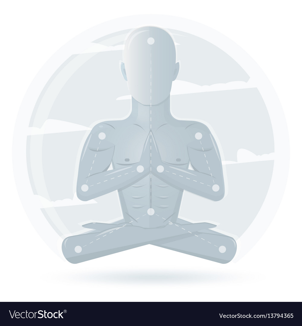 Meditation man isolated on white background